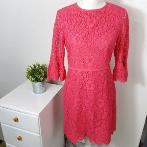 Draper James Pink Lace Bell Sleeve Dress